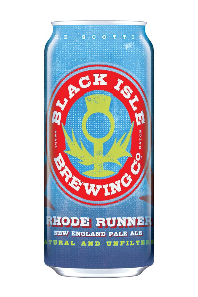 Above, RHODE RUNNER, an exciting new New England Hazy Pale by Black Isle Brewery, now available in 440ml cans and 30 litre kegs in Switzerland.