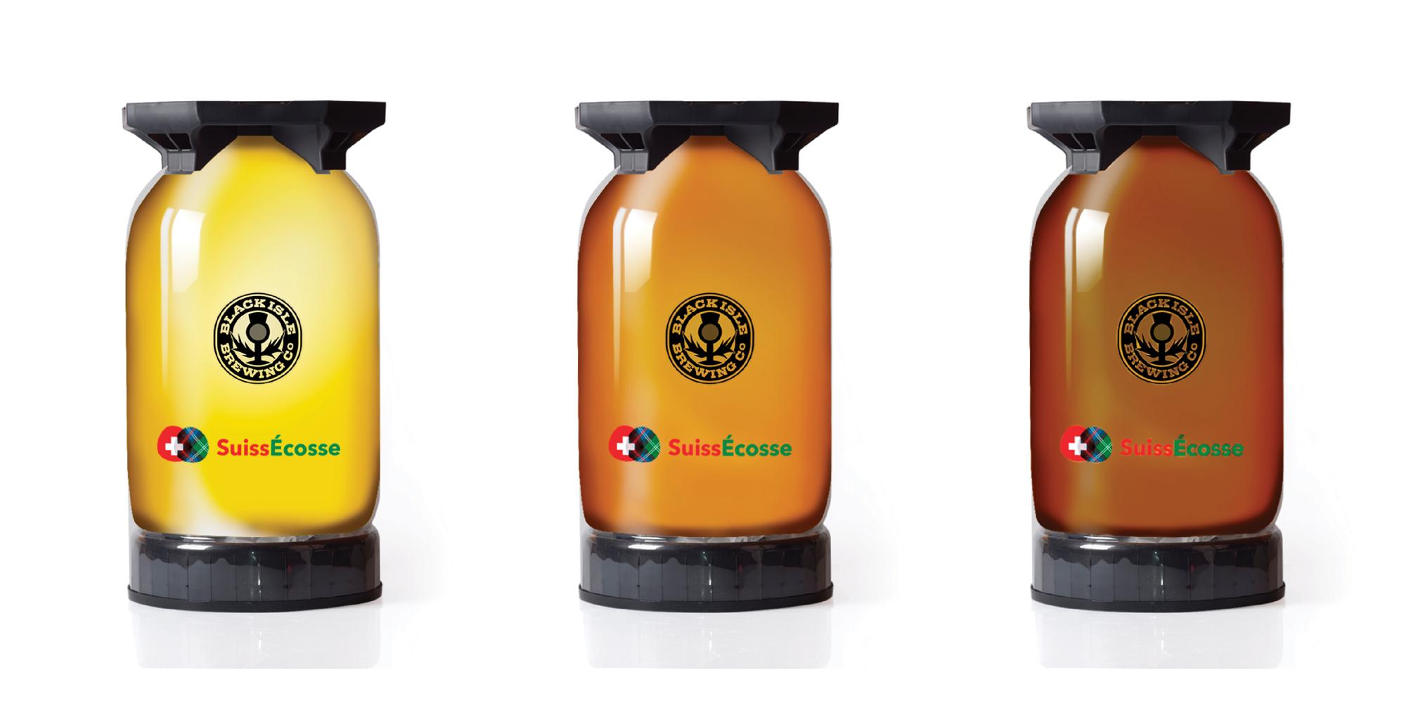 Images stylisées des fûts de 30 litres de BLONDE, GOLDFINCH  et GOLDENEYE, des bières primées de Black Isle Organic Brewery. Toutes les bières artisanales de la brasserie Black sont disponible en tonnelets KeyKegs Slimline de 20 et 30 litres.