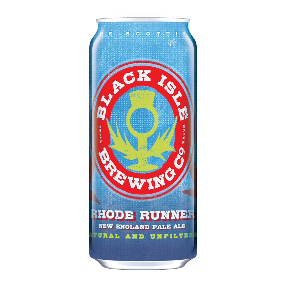 Above, RHODE RUNNER NEPA, an exciting non-filtered new New England Hazy Pale by Black Isle Brewery, now available in 440ml cans and 30 litre kegs in Switzerland.